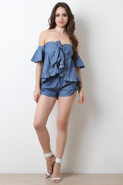 Denim Side Button Tab Shorts