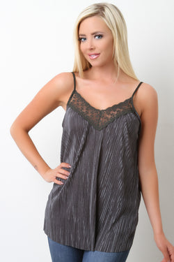 Accordion Pleated Lace Cami Top