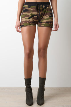 Distress Camouflage Jersey Knit Shorts