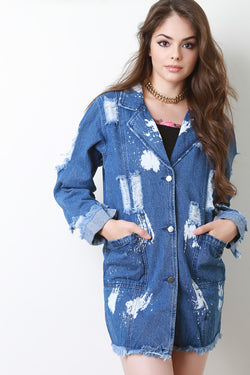 Distressed Bleach Longline Denim Jacket