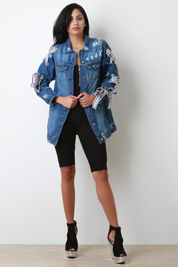 Embrace Ribbon Lace Up Distressed Denim Jacket