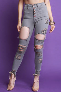High Waisted Button Fly Distressed Skinny Jeans