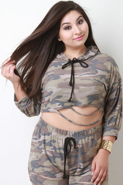 Distressed French Terry Camouflage Draped Hooded Crop Top