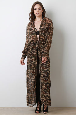 Semi-Sheer Glitter Camouflage Longline Cardigan Cover-Up