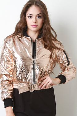Front And Back Zip-Up Puffy Foil Bomber Jacket