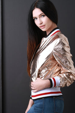 Stripe Trim Zip-Up Foil Bomber Jacket