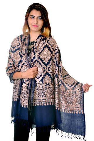 Pure wool Blue Diamond jaal Embroidered stole/shawl for women