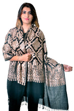 Pure wool Black Diamond jaal Embroidered stole/shawl for women