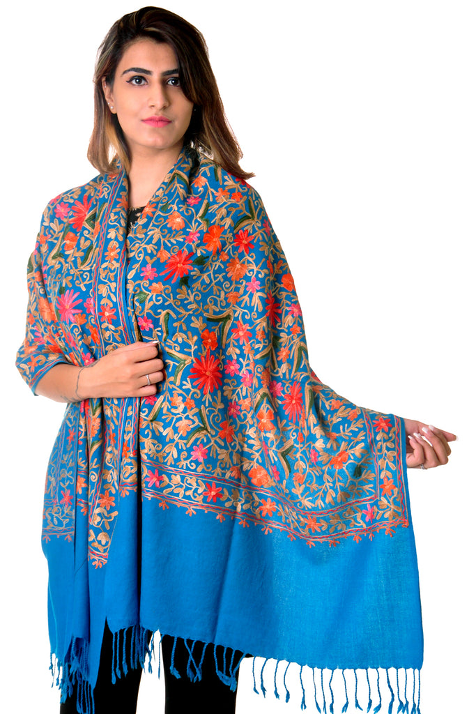 Pure wool Blue Kashmiri jaal Embroidered stole/shawl for women
