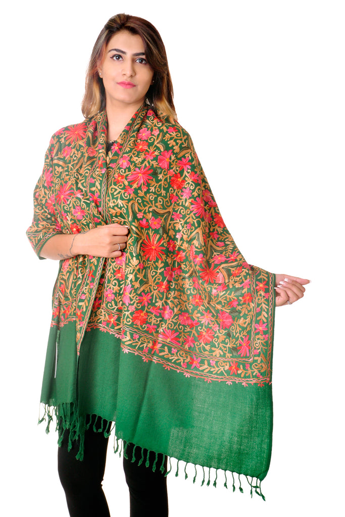 Pure wool Green Kashmiri jaal Embroidered stole/shawl for women