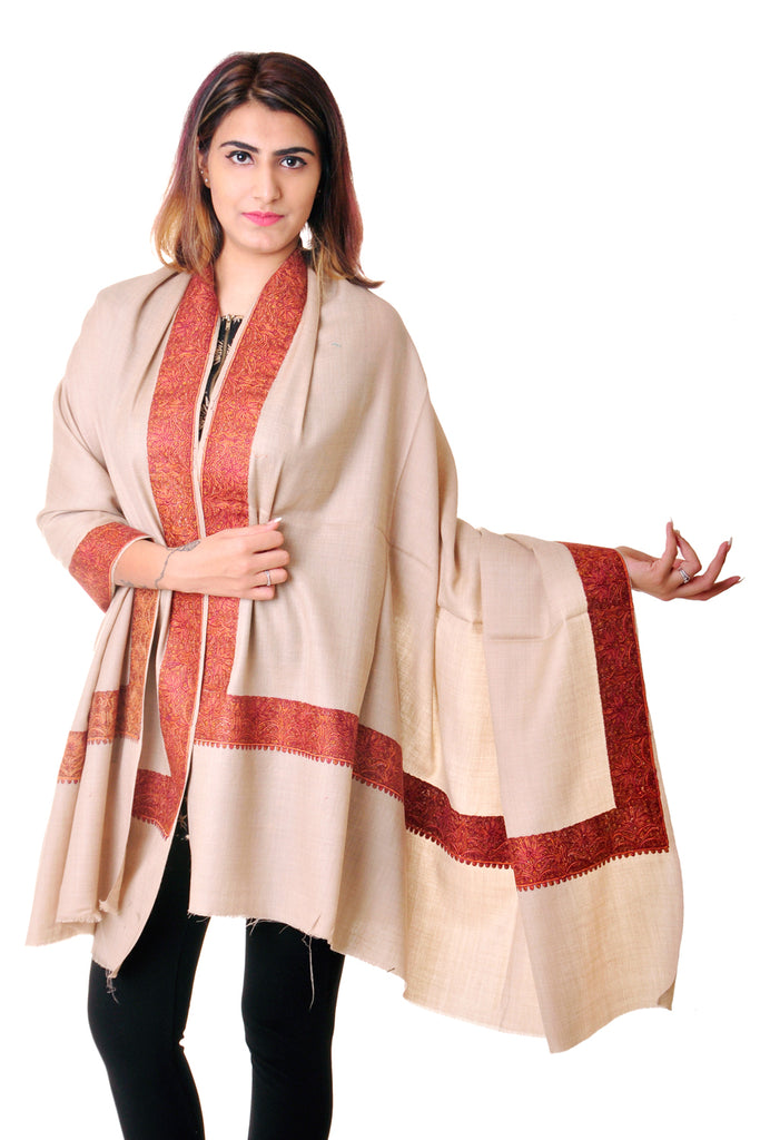 Pure wool Beige Sozni border shawl for women