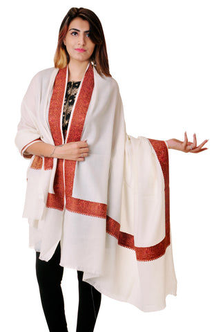 Pure wool Cream Sozni border shawl for women