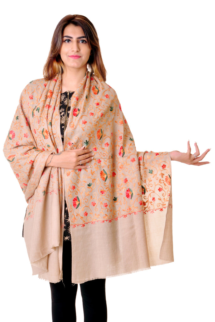 Pure wool Beige kashmiri shawl with jaal for women