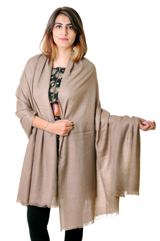 Pure wool beige Plain shawl for women