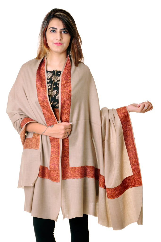 Pure wool Brown Sozni border shawl for women