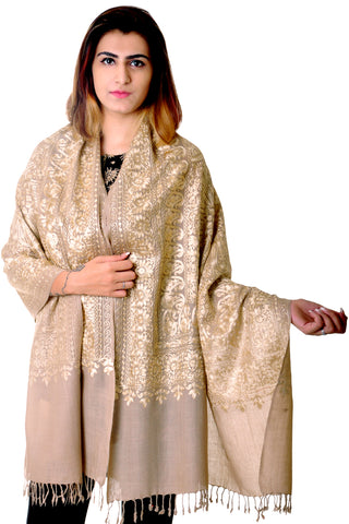 Pure wool Beige kashmiri Embroidered stole/shawl for women