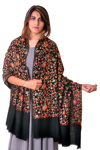 Pure wool Black kashmiri shawl with jaal for women