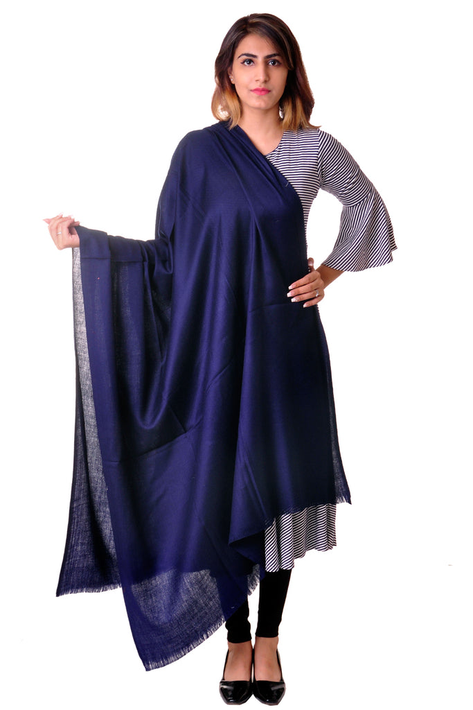 Pure wool blue Plain shawl for women