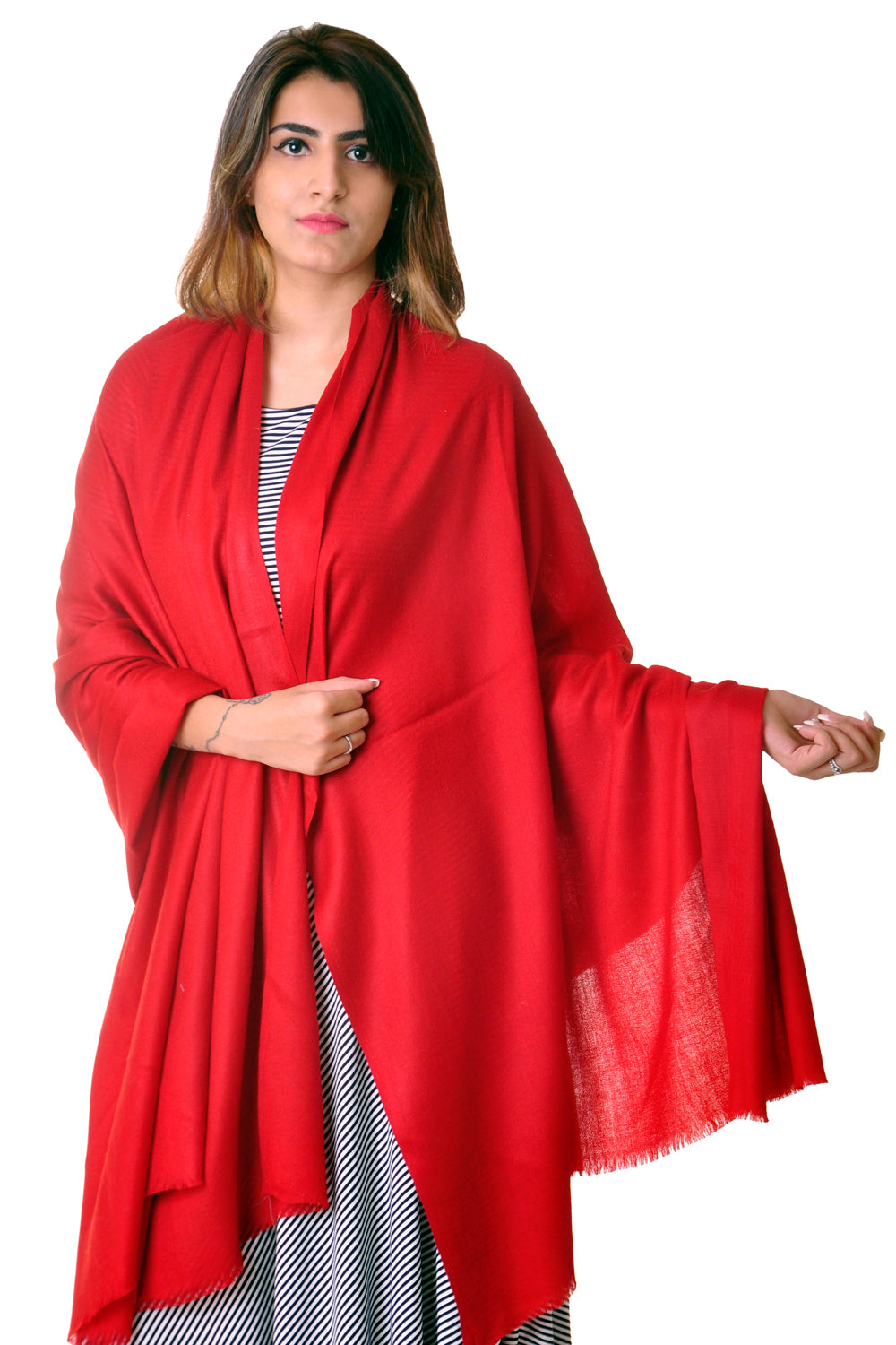 Pure wool Red Plain shawl for women