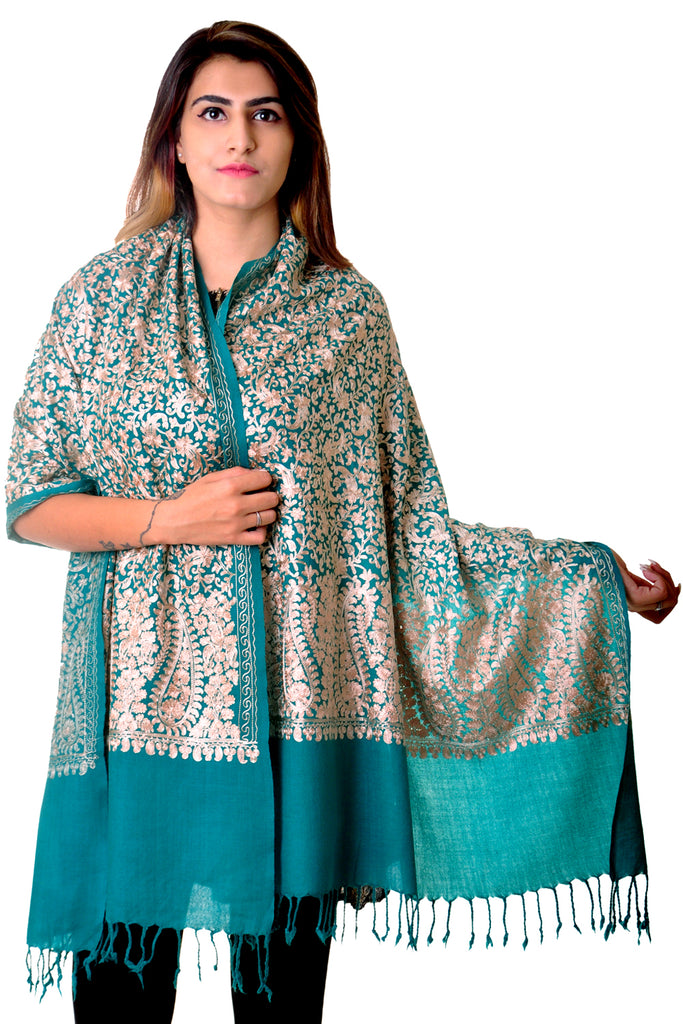 Pure wool Turquoise kashmiri Embroidered stole/shawl for women