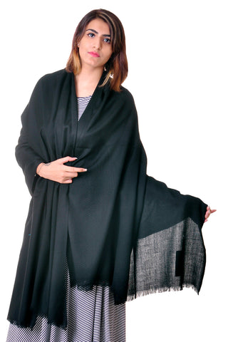 Pure wool black Plain shawl for women