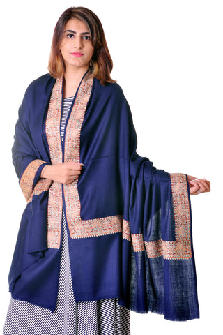 Pure wool Blue Sozni border shawl for women