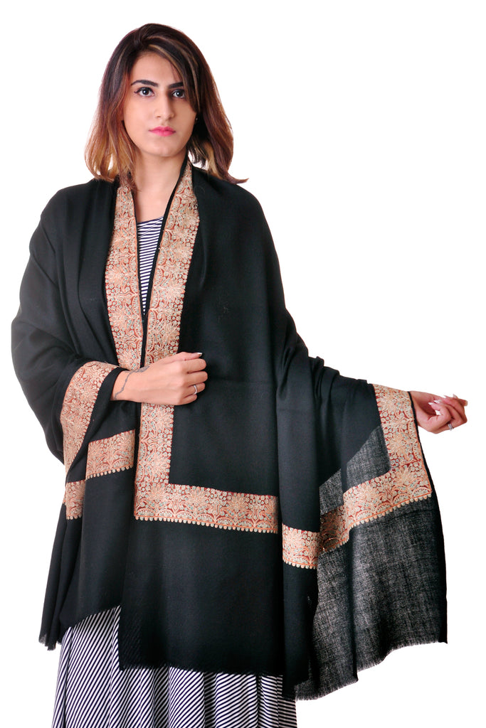 Pure wool Black Sozni border shawl for women