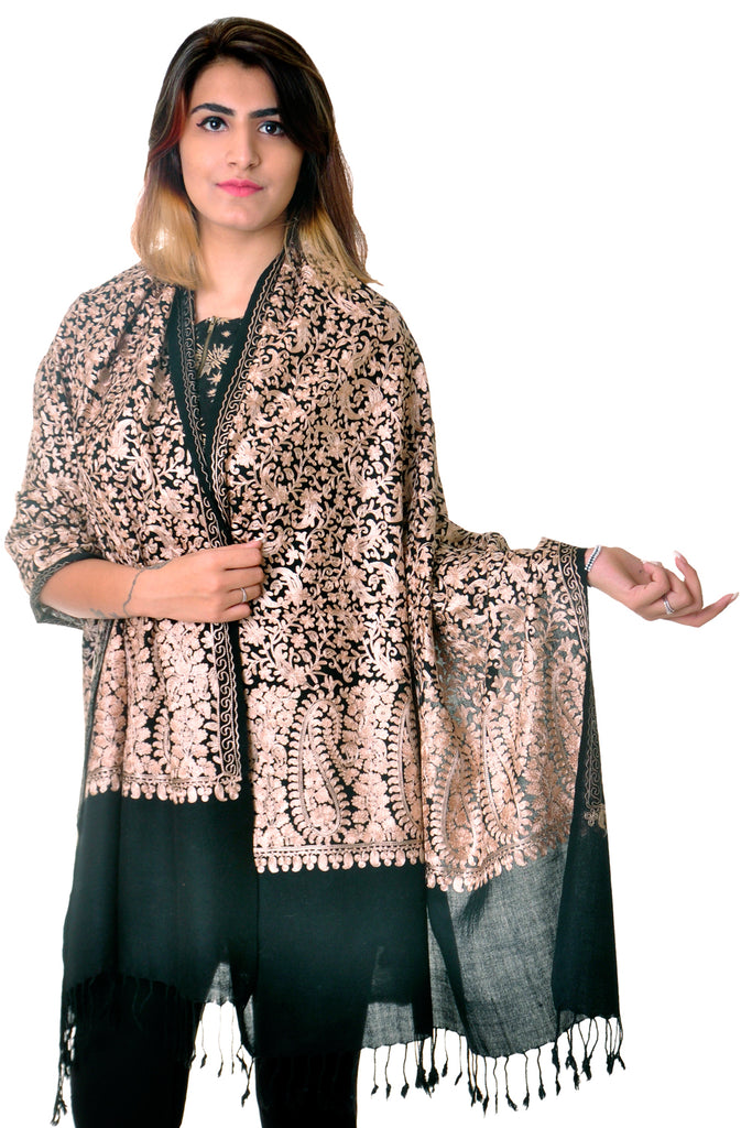 Pure wool black paisley jaal Embroidered stole/shawl for women