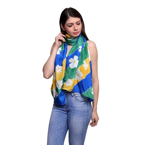 Pure silk Hand painted Multicolor Asiatic lily stole , Summer stole, Blue silk scarf, 22x72 inches