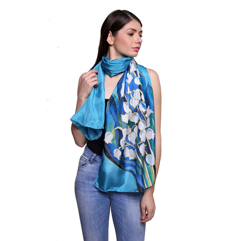 Pure silk Hand painted Aqua lily, Summer stole, blue silk scarf, 22x72 inches