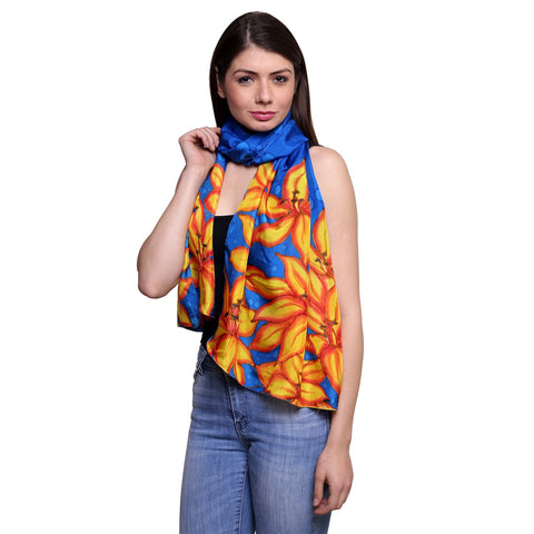 Uniscarf Pure silk Hand painted Blue and orange floral scarf/stole ,