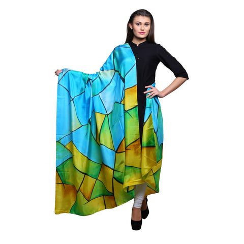 Pure silk Hand painted Blue and yellow dupatta,  Multicolor silk dupatta, 40 x100 inches