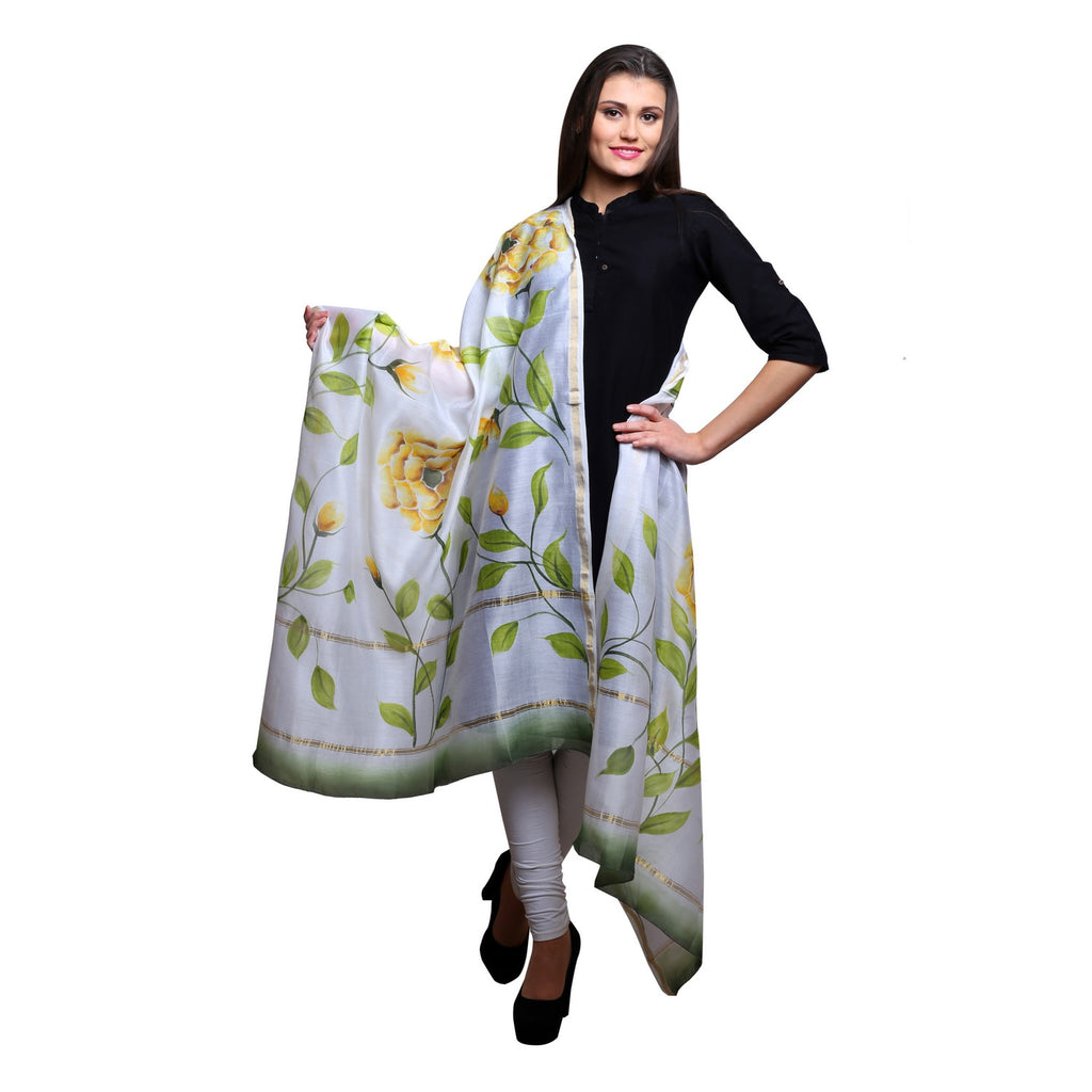 Chanderi silk hand painted Yellow rose and leaves, White dupatta, 36x 90 inches