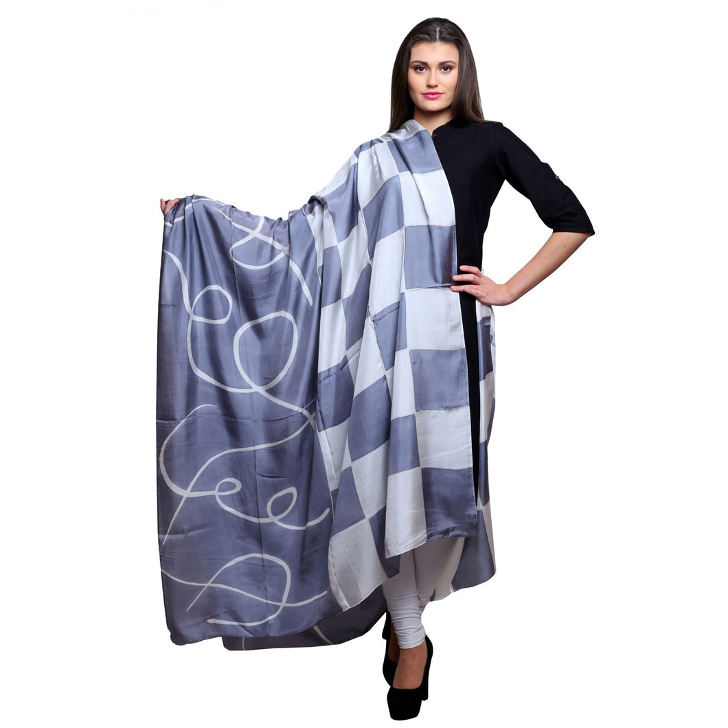 Mulberry silk Hand painted black and white silk dupatta, 40 x100 inches
