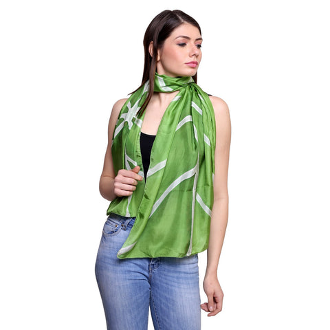 Pure silk Hand painted Green leaf Stole , Summer stole, Green silk scarf, 22x72 inches
