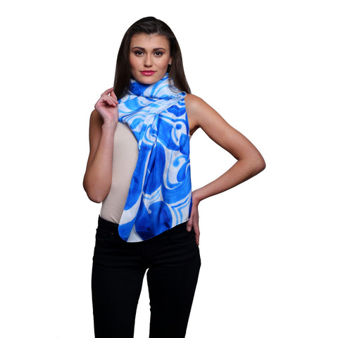 Pure silk Hand painted Ocean blue, Summer stole, Blue silk scarf, 22x72 inches