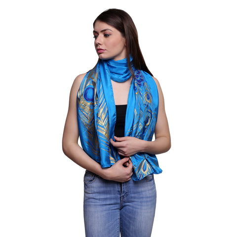 Pure silk Hand painted peacock feather stole, Summer stole, blue silk scarf, 22x72 inches