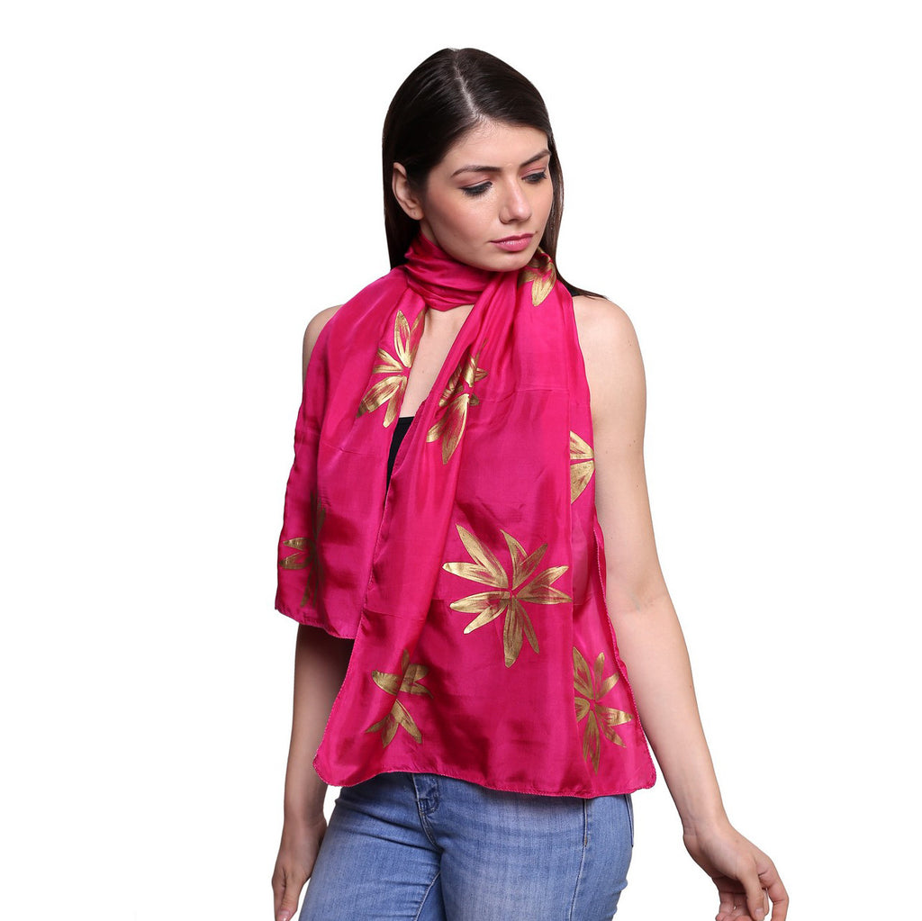 Pure silk Hand painted Pink and gold leaf , Summer stole, pink silk scarf, 22x72 inches