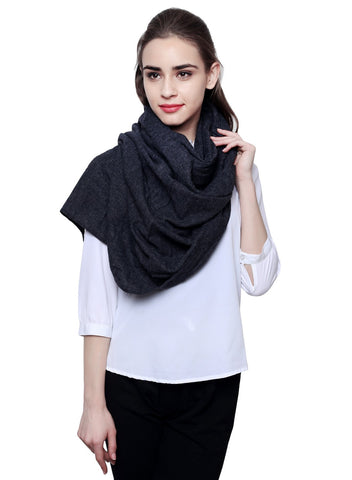Charcoal Black Pure wool cashmere stole - scarff - 1