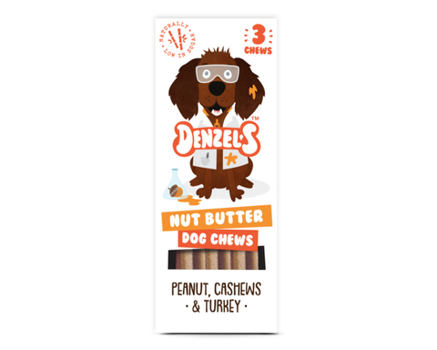 Denzel's Nut Butter Dog Chews withPeanut, Cashews and Turkey - HOUNDSONLINE