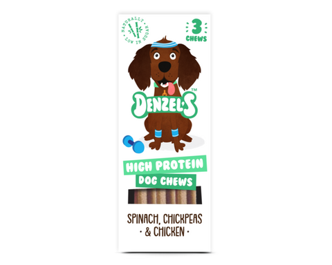 Denzel's High Protein Dog Chews with Spinach, Chicken & Chickpeas - HOUNDSONLINE