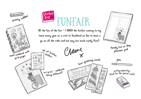 SherbetBox stationery monthly subscription funfair