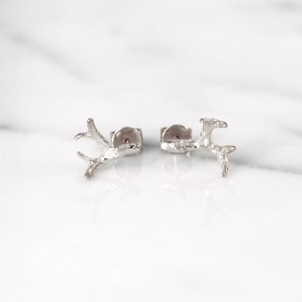 Small antler earrings in Sterling Silver