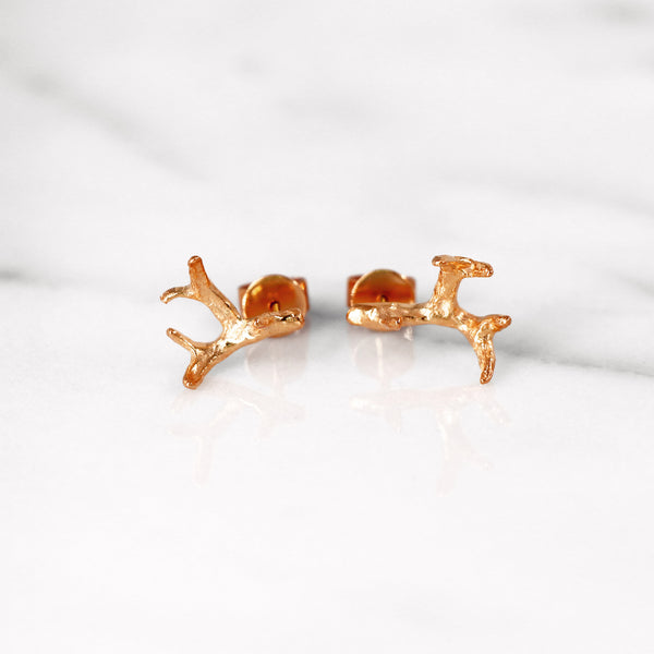 Small antler earrings in Rose Gold