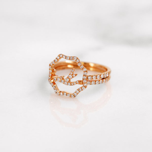 Delicate diamond antler ring in rose gold, stackable and stylish.