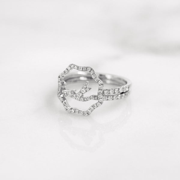 Delicate diamond antler ring in white gold, stackable and stylish.