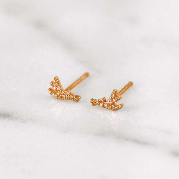 Delicate diamond antler earrings in rose gold
