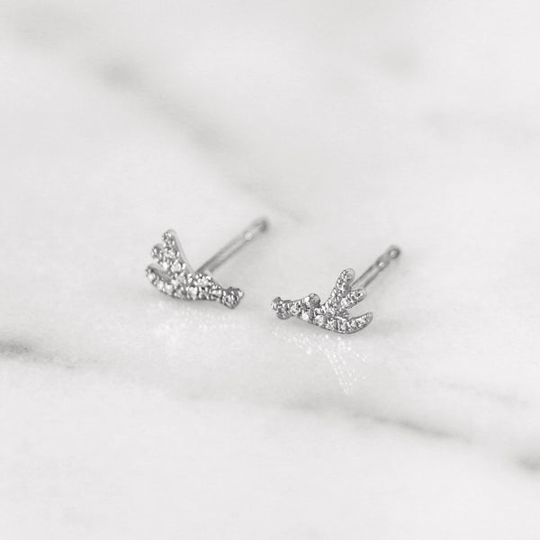 Delicate diamond antler earrings in white gold