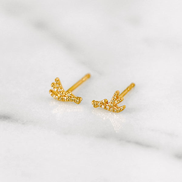 Delicate diamond antler earrings in yellow gold