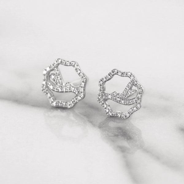 14K and 18K Antler White Gold Diamond Stud Earrings